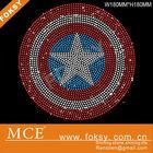 Captain Star Shield logo custom rhinestone transfer motifs bling transfer for T-shirt