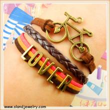 Infinity Jewelry bike Bracelet Weave Braid Leather Bangle for lover couples bracelet set
