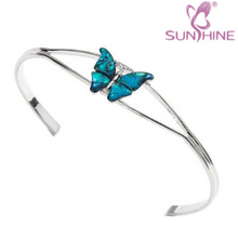 Natural Abalone Shell Silver Color Metal Butterfly Bangle / Bracelet