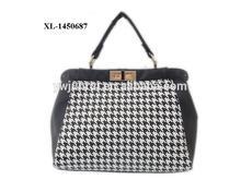 2014 hot houndstooth tote bag elegant ladie bag in classic black white color