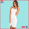 Fahion white sleeveless assymetrical hemlin lady garment with centre split