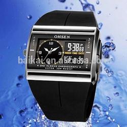 free shipping OHSEN Watch LED Display Digital Alarm Dual Time Waterproof Sport