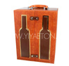 Wine Bottles Pattern High-quality Orange Leather Wine Carrier