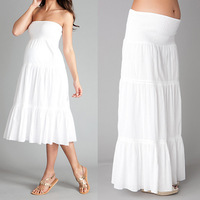 breathable rayon sexy off shoulder multi way wear white maternity dress