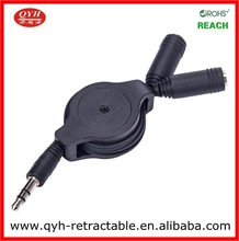 Retractable Mechanism 3.5 mm male to double female cable