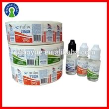 Printing Custom Adhesive Printed Waterproof Plastic Bottle Labels,Custom E-Juice Sticker Labels