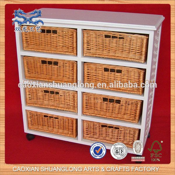 Nouveau meubles en bois avec tiroirs roulettes armoire de rangement en boi - Meuble de rangement avec panier en osier ...