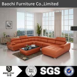 Baochi italian leather l shape sofa ,italian sofa manufacturer , modern italian leather sofa model C1128