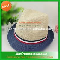 fedora straw boater hat with custom logo hatband