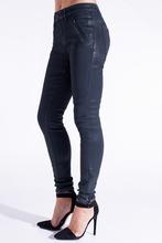 Mulheres skinny revestido de jeans em cera azul preto marrom / revestidos skinny jeans calças / high rise skinny encerado personalizar denim jeans