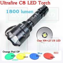 Hot new products for 2014 Ultrafire C8 Cree XM-l2 U3 LED Orange Peel Red/Green/Blue/Yellow Lens Flashlight LED