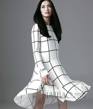 2014 Autumn-spring newest fashion british style magazine cover long sleeve plaid printed irregular brief white dress