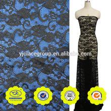 señoras vestido de occidental diseños vintage negro de flores de tela de encaje material sari