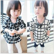 M61574A wholesale black and white check girl fashion tshirt