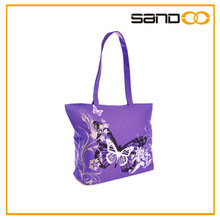 2014 butterfly print casual fashion tote shopping large beach bag