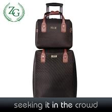 New Brown PU Luggage Sets , PU bag + Trolley 2pcs Sets Suitcase Sets