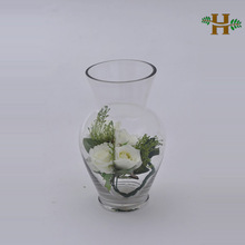 Handmade clear practical glass vase, home use big belly decorative glassware