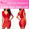 new short girls bright red bodycon wrap dress