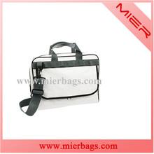 White tarpaulin shoulder bag for laptop