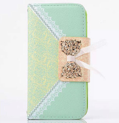 2014 New Design chain wallet leather case for iphone5s