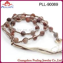 (PLL-90069)Pink Aventurine African Beads Jewelry Set Bracelets