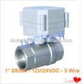 1'' 3 cables 2 vías válvula de bola motorizada dc12/24v control ss304 bsp/hilo npt válvula eléctrica para filtro de agua