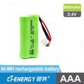 Batería nimh 2.4 v 600 mah teléfono inalámbrico de la batería 2 * AAA