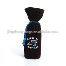 black velvet drawstring wine bag in high-class