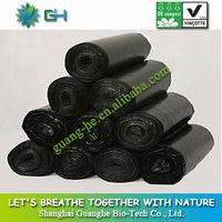 100% biodegradable plastic trash bag/Eco friendly black garbage bag for kitchen