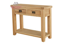 306 Rustic style solid American white oak 2 drawer console table/ living room furniture