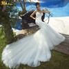 MR-023 Trumpet Spaghetti Straps Open Back mermaid Long Train Wedding Dress Wedding Gown