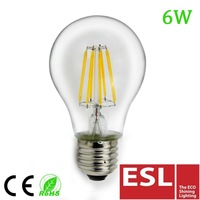 2014 NEW!! A60 6w e27 220v-240v filament edison bulb led with CE&RoHS 2Years Warantty cool white