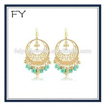 Gold Tassel Earrings Circle Eardrop With Blue Bead