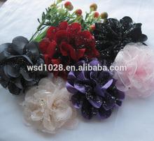 "4"" Big Fabric Mesh Flowers Appliques wedding Sewing Craft"