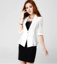Ladies White & Black Single Button Office Suits