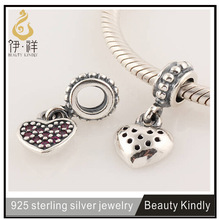 Hight Quanlity 925 Sterling Silver Fascinating Dangle Heart Bead Fits For Bracelet
