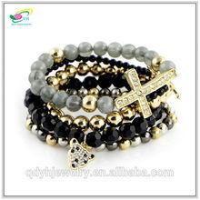 Pop Fashion Jewelry for Men Leopard and Cross beaded Charm Bracelet