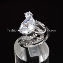 wholesale customized water drop 925 silver diamond rings
