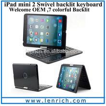 LBK204 For Apple iPad mini Backlit Keyboard Case Bluetooth Illuminated Keyboard Ultrathin Cover Stand Bluetooth Keyboa