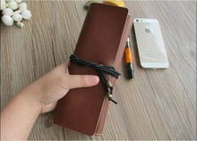 Multifunction handmade roll leather pen case pencil case