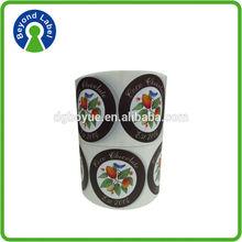 Permanent plastic printed round adhesive stickers