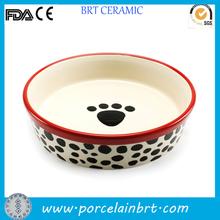 Paw printing ceramic dog Water Bowl