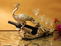 high end peacock statue red wine racks for wine and glass