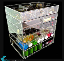 6 Tier Transparent Acrylic Cosmetic Storage Drawers Skin Care Products Display Stand