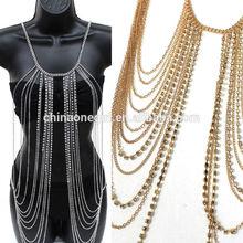 Body Full Metal Chain Gold Silver JEWELRY Necklace Bikini Belly rihanna Harness