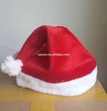 plush santa claus hat with white pom pom and white edge