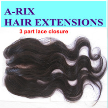 Hot selling ! cheap price 3 part Brazilian hair lace closure