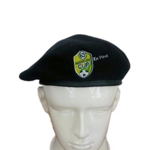 High quality polyester black military badge beret cheap