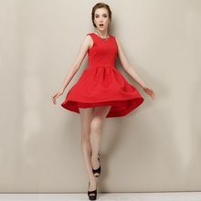 C82973A European fashion women high quality red dress/lady sleeveless dress