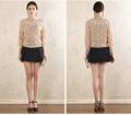 Fanshou 2014 suéter de las mujeres la moda otoño invierno o de- el cuello jersey de manga larga jersey de encaje ahuecar suéter de punto 5313